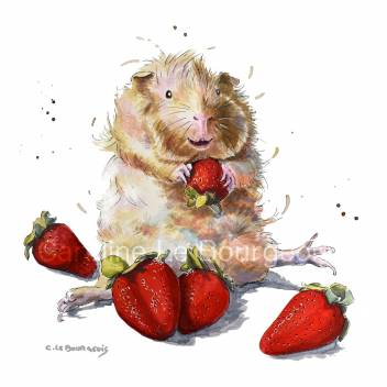 Butterscotch the ginea pig and strawberries painting