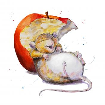 Silly Belly Mouse and apple