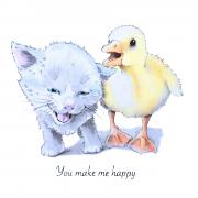 You-make-me-Happy kitten and gosling illustration