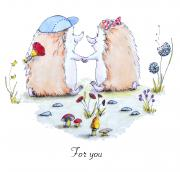for-you hedgehog in love illustration
