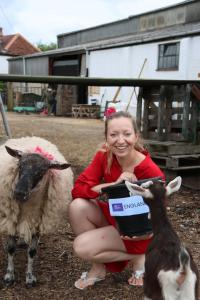 Caroline-with-Bumblebee-the-sheep-and-Lois-the-goat-predicting-the-football