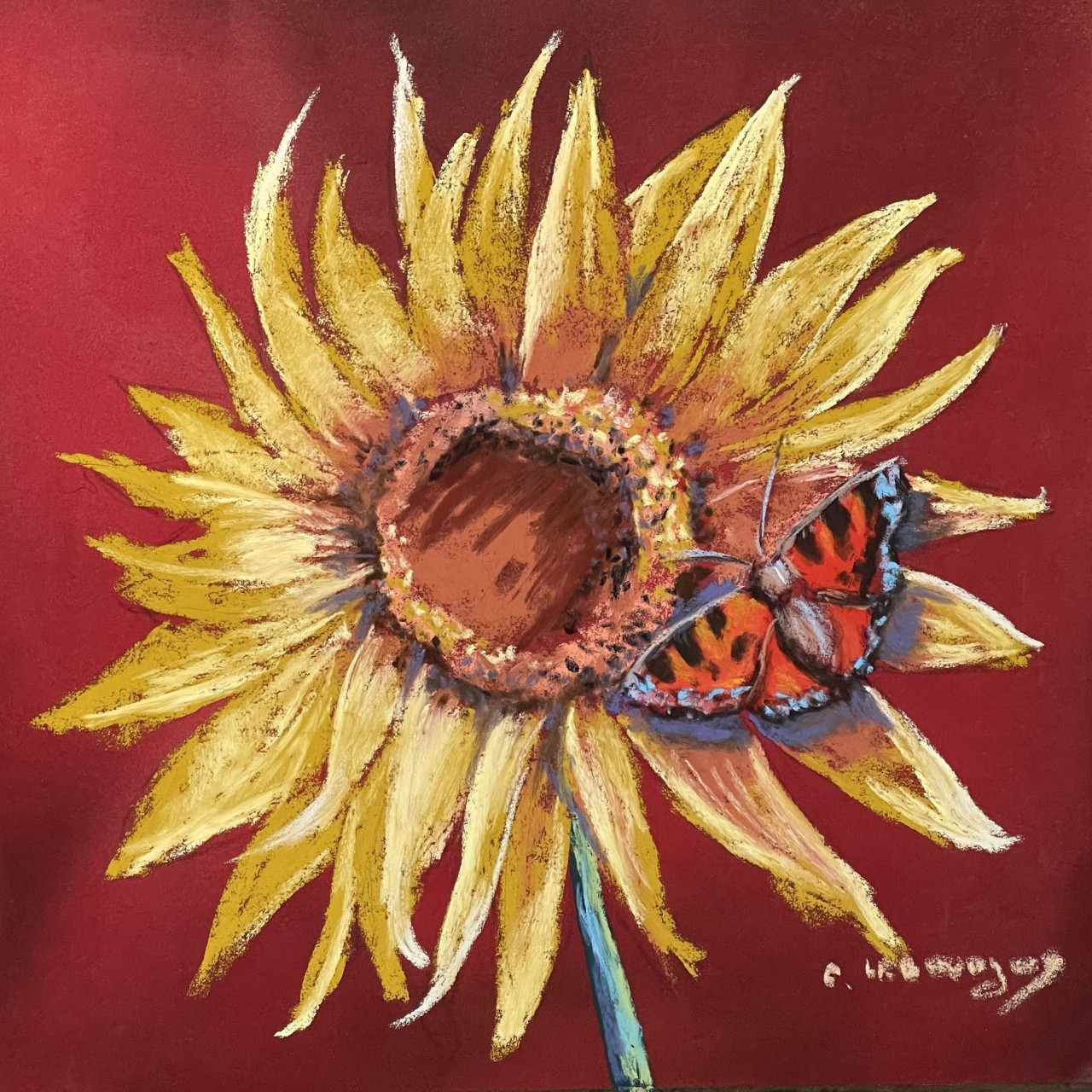 Sunflower & butterfly painting and what happens next!